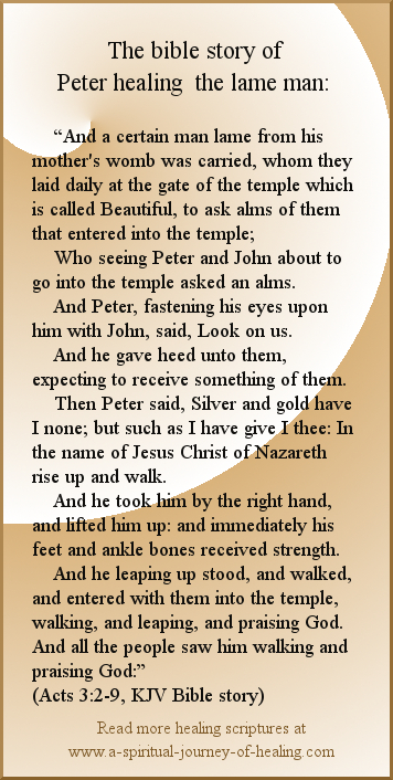Scripture on healing. Graphic with a bible healing story.