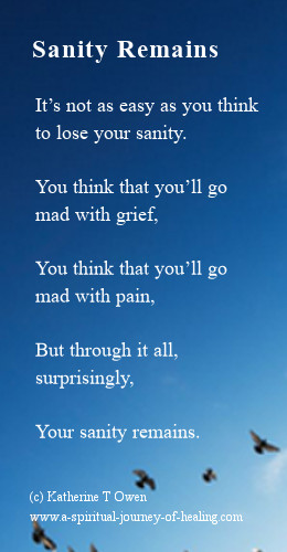 A sad but hopeful poem about maintaining sanity through the physical illness CFS along with depression.