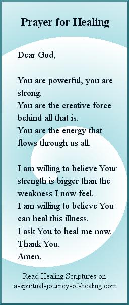 Prayer asking God for healing